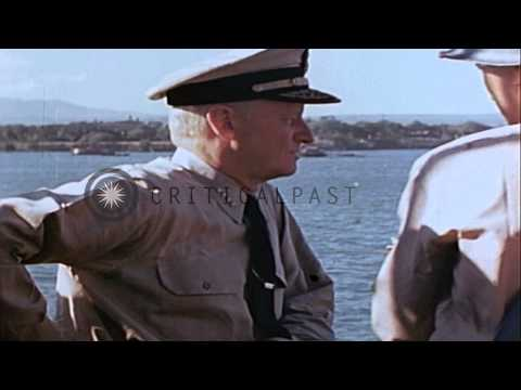 Admiral Chester William Nimitz, General Richardson, and Admiral Raymond Spruance ...HD Stock Footage