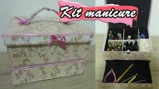 Faça você mesmo Maleta kit manicure feito com caixa de sapato
