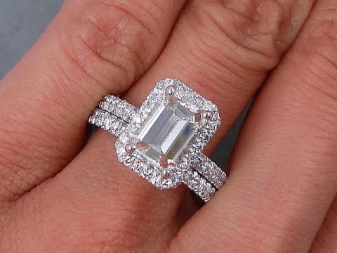 2 79 Ctw Emerald Cut Diamond Engagement Ring And Wedding Band Set