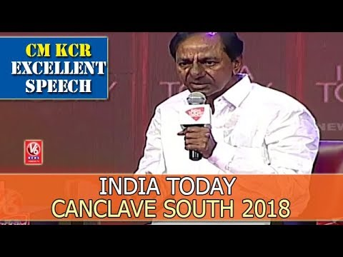 CM KCR Excellent Speech At India Today Canclave South 2018 | Hyderabad | V6 News