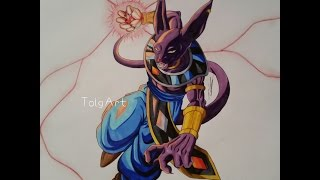 "Drawing Lord Beerus ► God of Destruction / DBZ ""Battle of Gods"""