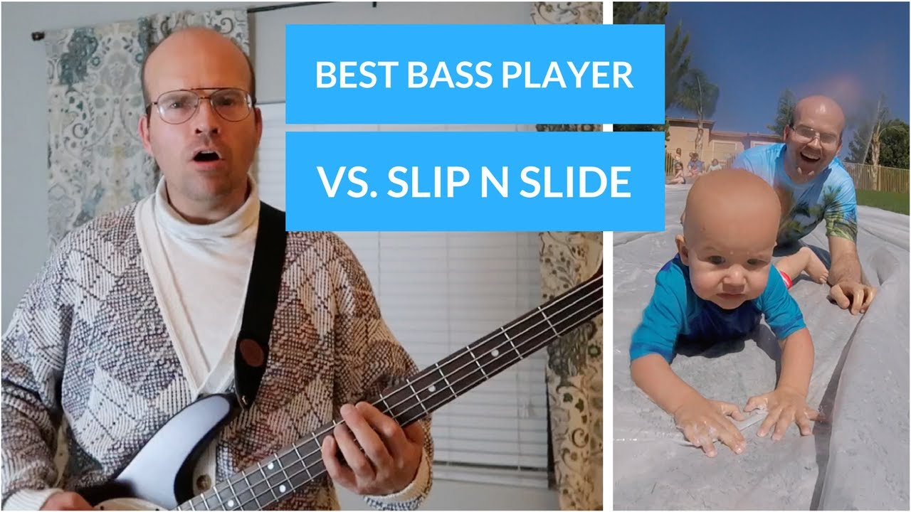 BEST BASS PLAYER EVER! awkward dad collabs with the FUN AWESOME FAMILY on a  giant slip-n-slide