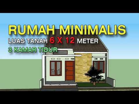 Desain Rumah Minimalis Ukuran 7x12 Meter  rumah minimalis 6x12 meter 3 kamar tidur