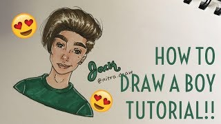How To Draw a Boy Tutorial | Nitra ♡