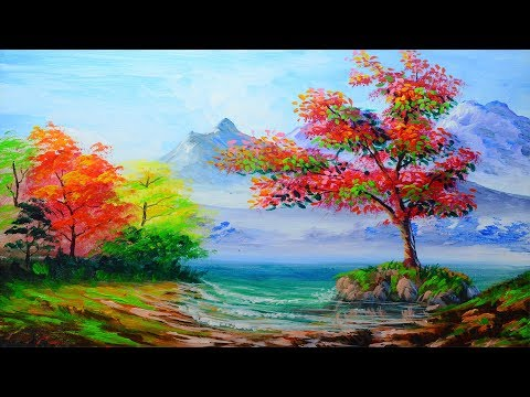 BASIC LANDSCAPE PAINTING and Sea Water Beach with autumn trees | ACRYLIC ART TUTORIAL FOR BEGINNERS
