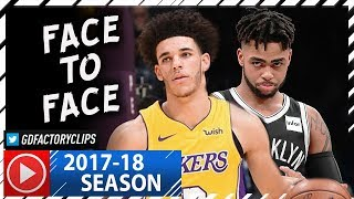 Lonzo Ball vs DAngelo Russell PG Duel Highlights 20171103 Lakers vs Nets - FACE to FACE