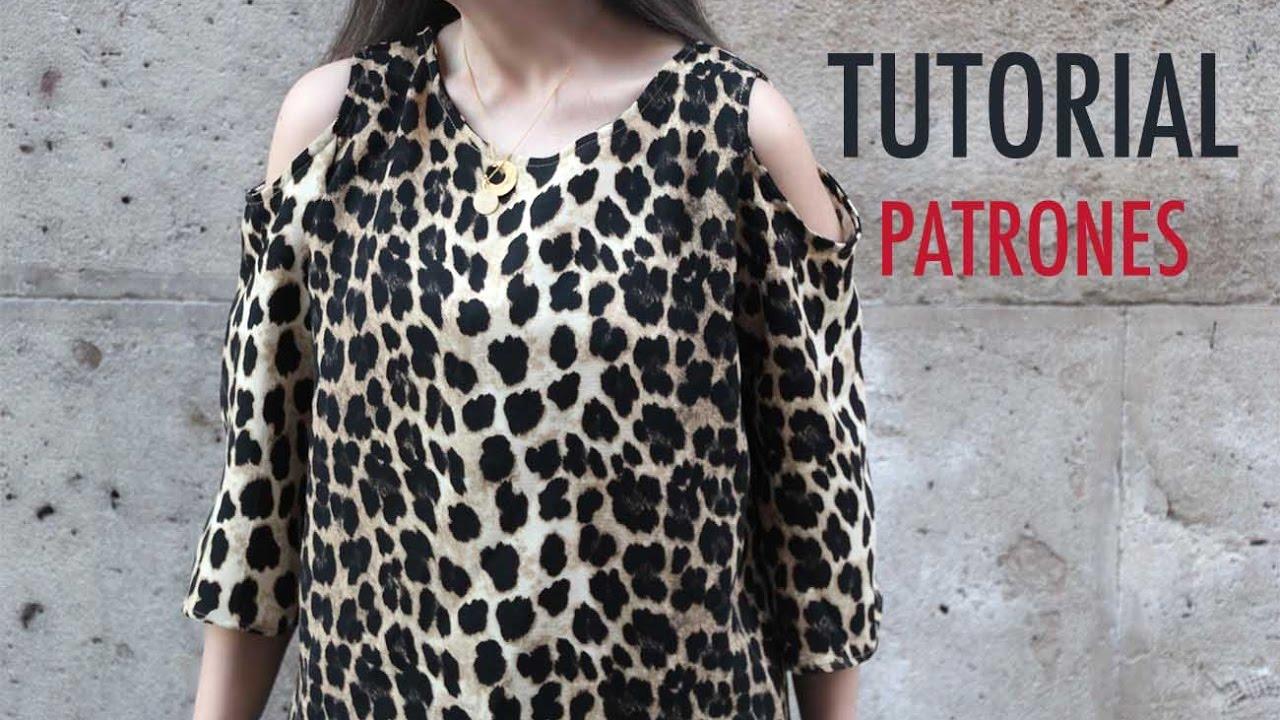 e2ddc9514 DIY como hacer blusa con hombros descubiertos (patrones gratis ...