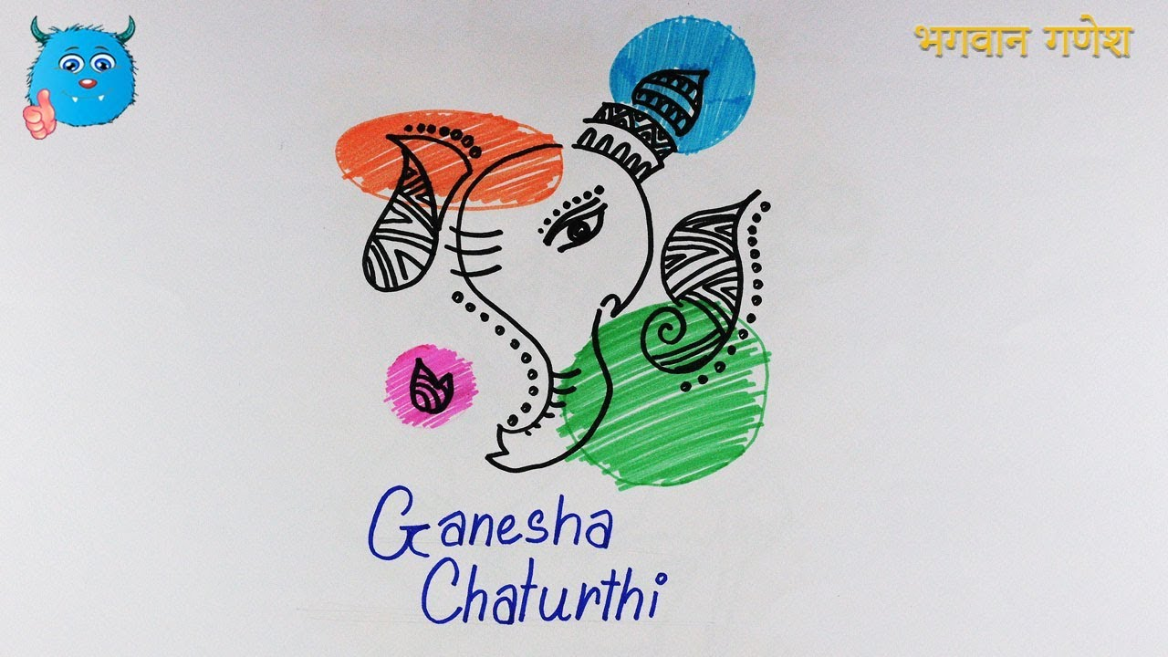 Ganesh chaturthi drawing idea for greeting card poster very easy