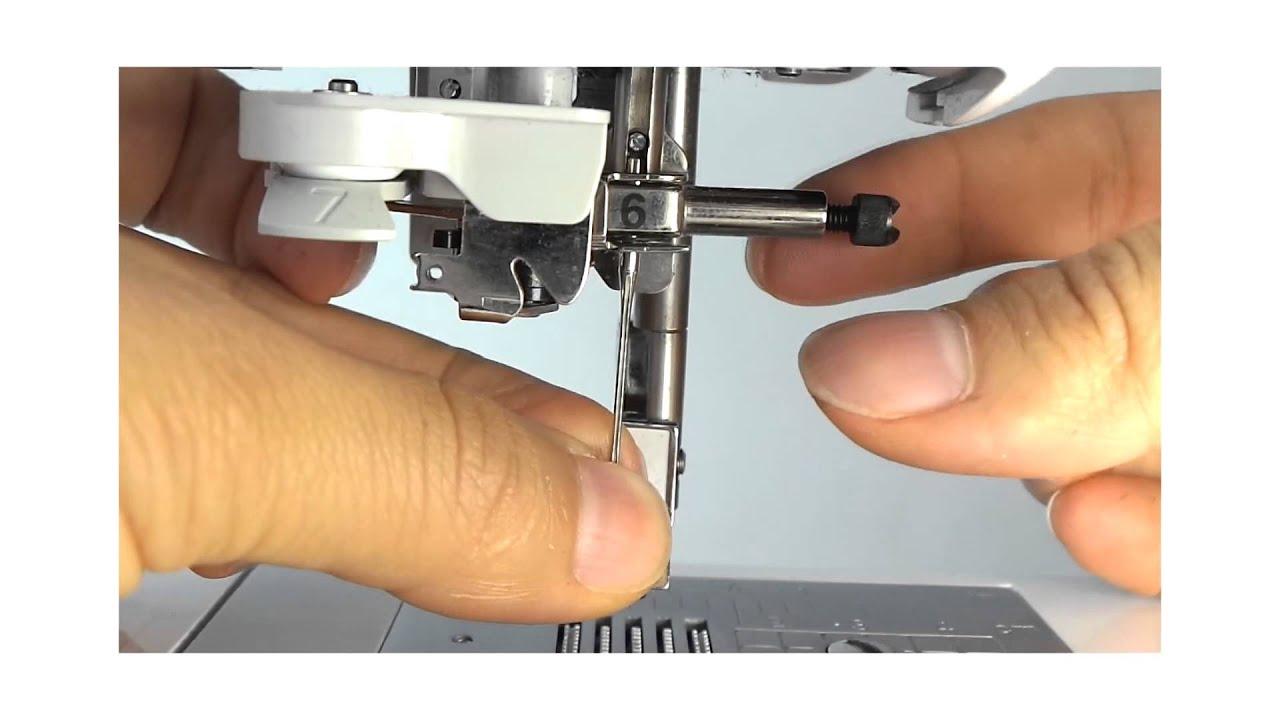 Como poner una aguja en maquina de coser - YouTube