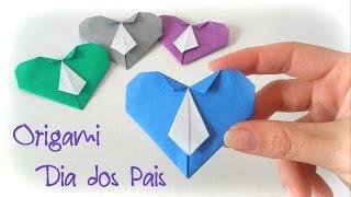 Origami Coração com Gravata  - Ideia para o  Dia dos Pais