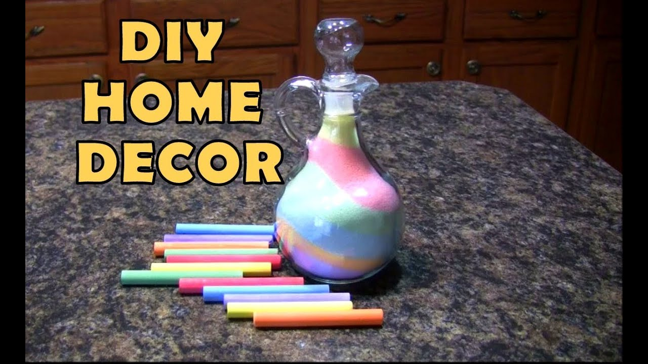 DIY Inexpensive Home Decor Ideas Salt Chalk Colorful Glass Vase