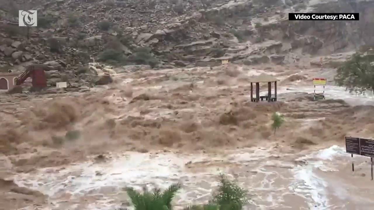 Flash flood at Wadi Bani Khalid