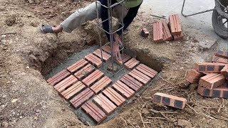 How to Building Gate Columns With Bricks And Reinforced Concrete You Must See