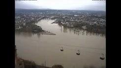 Hochwasser am Deutschen Eck in Koblenz