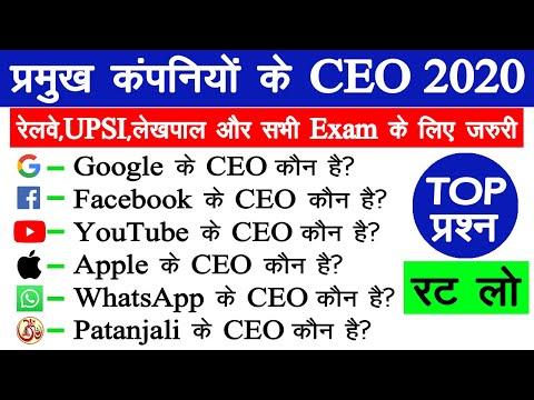 TOP | प्रमुख कंपनियों के CEO 2020 | Companies and CEO | Current affairs 2020