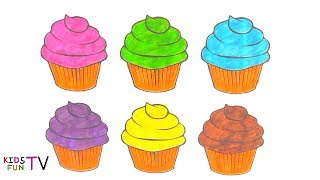 Learn Colors And How To Draw Cupcake Coloring Pages And Drawing For Kids Learning