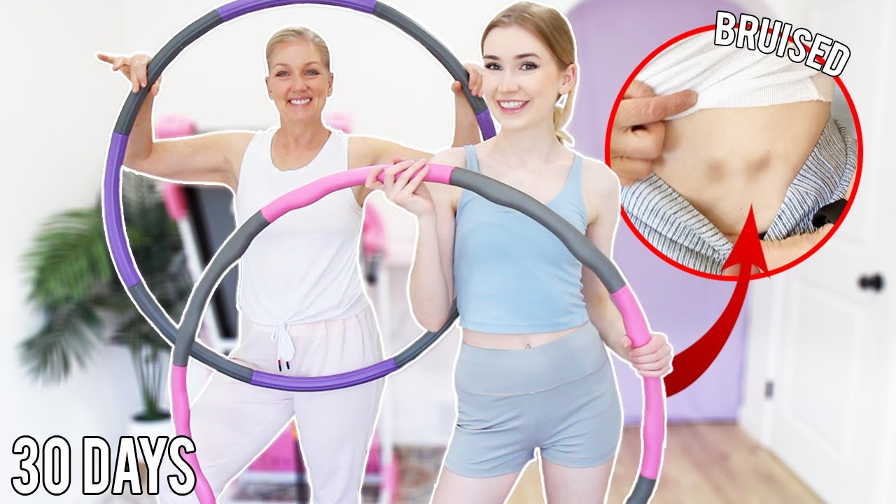 Trying the 30 Day WEIGHTED Hula Hoop Challenge !! *we bruised..quickly*