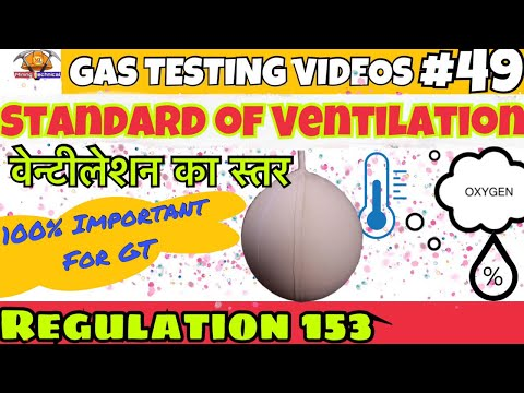Standard Of Ventilation || Regulation 153 || Gas Testing Videos || Gas Testing Examination