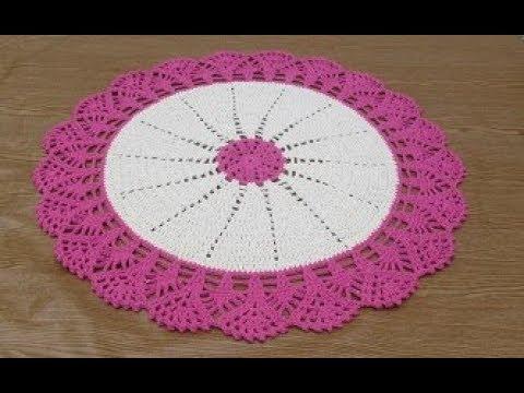 Crochê tapete redondo duas corês