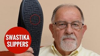 Pensioners new slippers have Nazi swastika emblem on sole