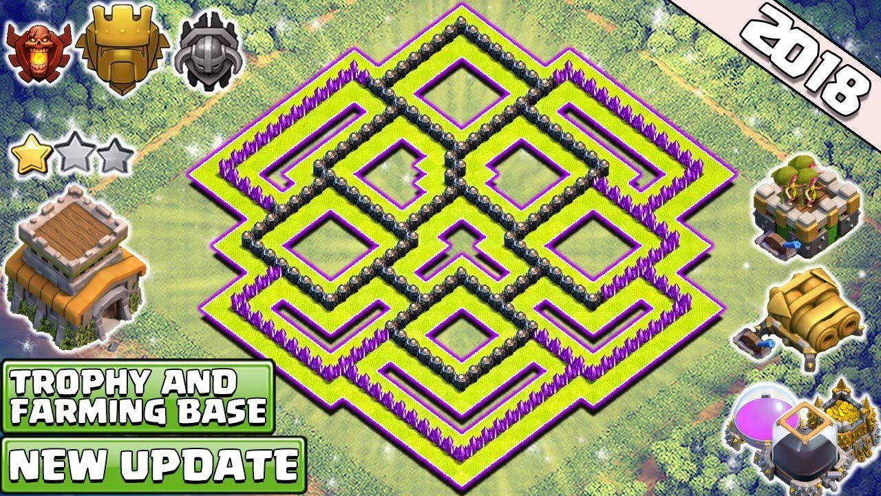 new best town hall 8 th8 trophy farming base 2018 th8 base