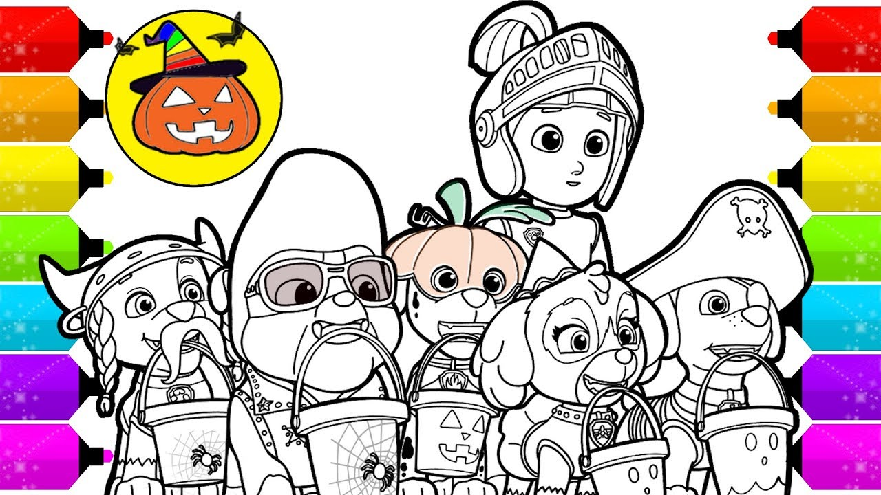 Paw Patrol Halloween Special Coloring Pages Youtube