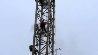 Abseil Rope Access Pressure Washing a Skylift Crane in Liverpool