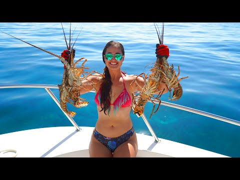 Florida Spiny Lobster CATCH And COOK! Snorkeling Fort Lauderdale Beach Crystal Clear Water!