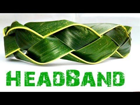 How To Make A Coconut Leaf Headband /Palm leaf art / Palm leaf crown / Headband Weaving