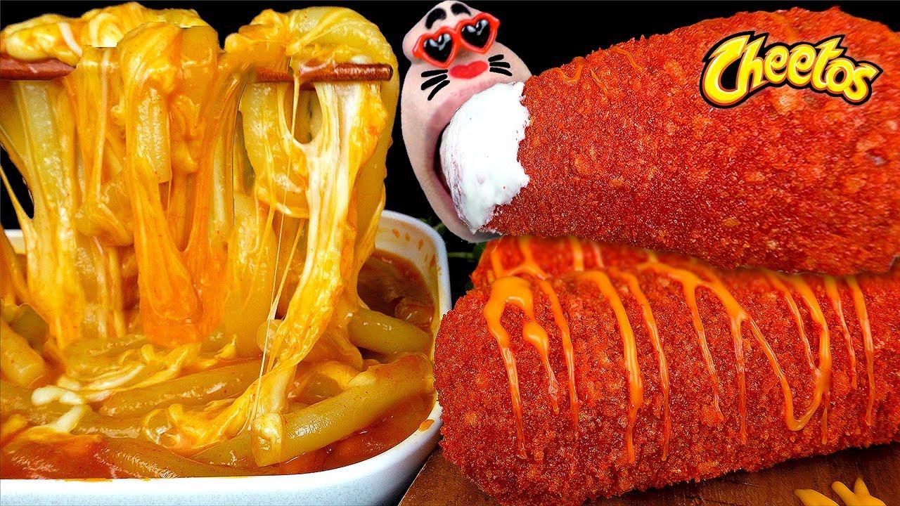 ASMR MUKBANG Giant Cheetos Sausage & Mozzarella Cheese Rice Noodle EATING SHOW (4K)