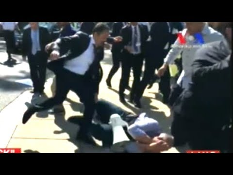 Turkish Dictator's Security Detail Brutally Beat Peaceful Protesters Near White House!