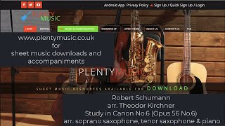 Schumann R. arr. Kirchner T. | Study in Canon No. 6 arr. soprano saxophone, tenor saxophone & piano