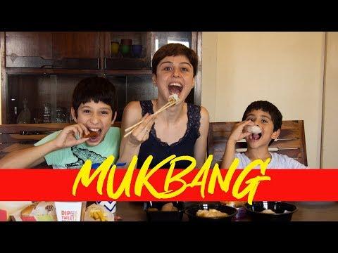 Mukbang With My Nephews! 🍔🍣🥟