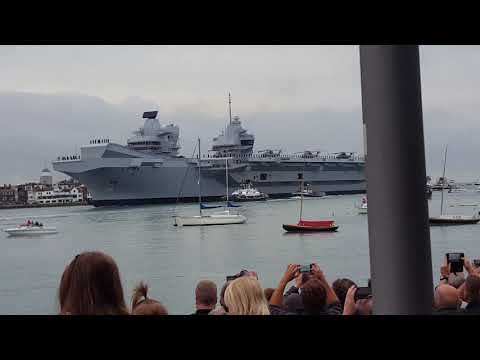 HMS Queen Elizabeth UK's new aircraft carrier at Portsmouth harbour