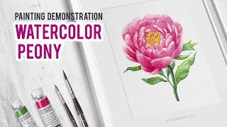Watercolor Peony. How to draw flowers.