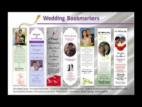 Wedding Bookmarks; Customized, Personalized, Keepsakes Souvenirs ...