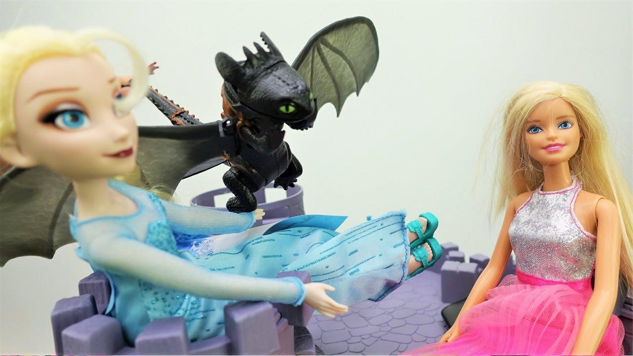 Кен и Барби в замке Эльзы. Видео с куклами - YouTube