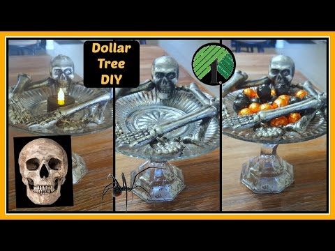 DOLLAR TREE DIY | HALLOWEEN SKELETON PLATE STAND HOME DECOR