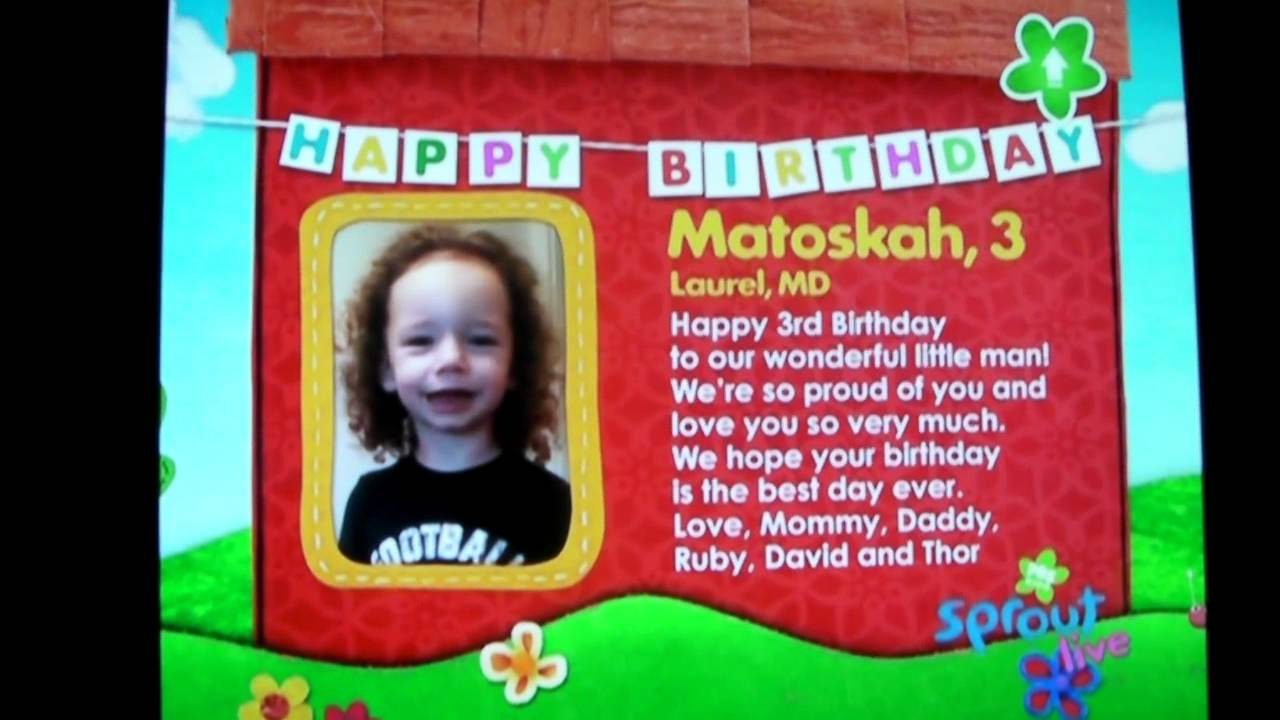 Matoskah 3rd Birthday Sprout Wishes YouTube