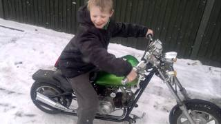 Jack burning out 110cc Mini Chopper in snow