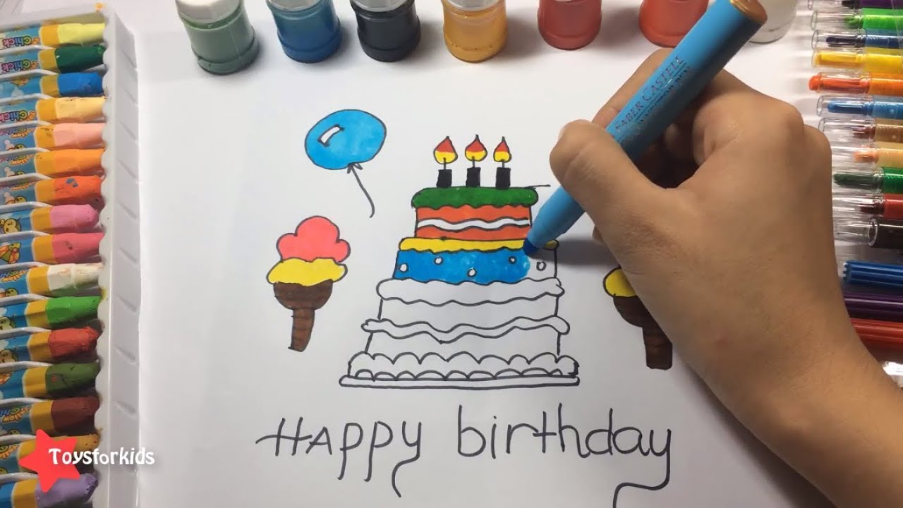 DIY How To Draw And Color A Birthday Cake For Your Baby Art - Colorful diy kids cakes