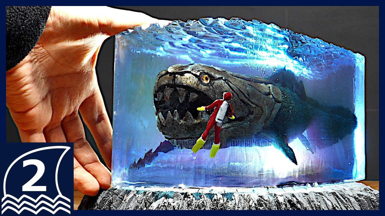Big size resin art aquarium! A huge ancient fish DUNKLEOSTEUS【ダンクレオステウスを使ったレジンアート/Sea monster】