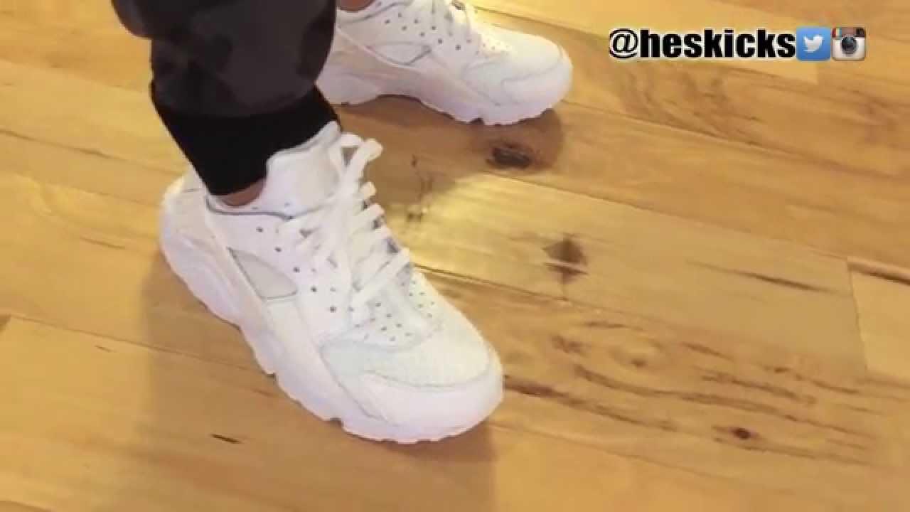 official photos 5d0f0 eae80 Triple   Pure White Nike Air Huarache Run On Feet (Detailed Look)