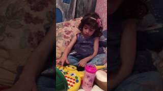 Sweet baby Alexia playing pc karaoke