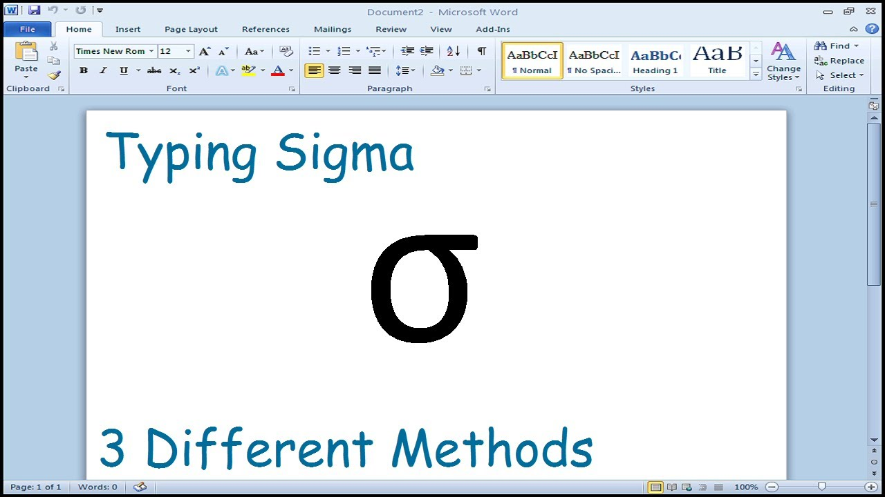 How To Type Sigma Symbol In Microsoft Word Youtube