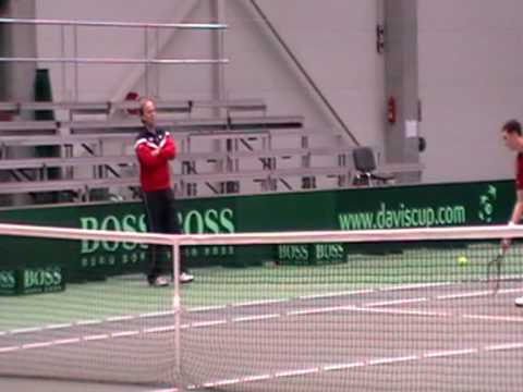 James Ward and Ross Hutchins in practice for GB Davis Cup