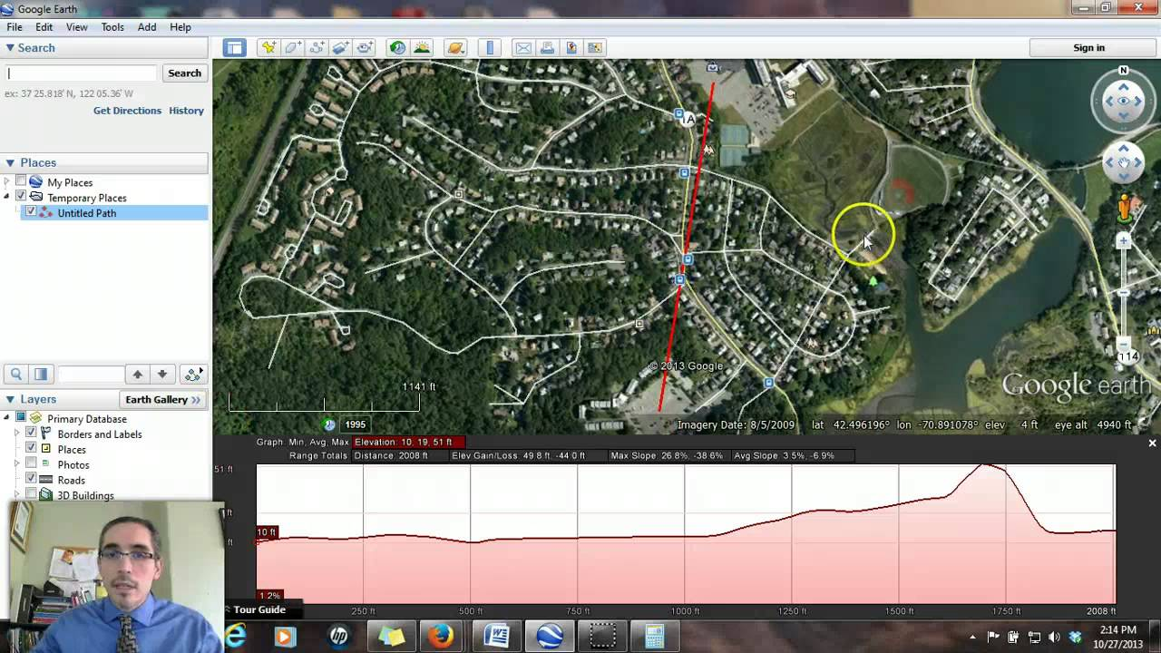 Deriving Slope In Google Earth YouTube - Elevation tool google earth