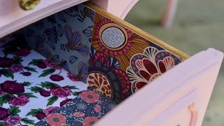How to Line Drawers With Scrapbook Paper - No Measuring Needed! - Thrift Diving