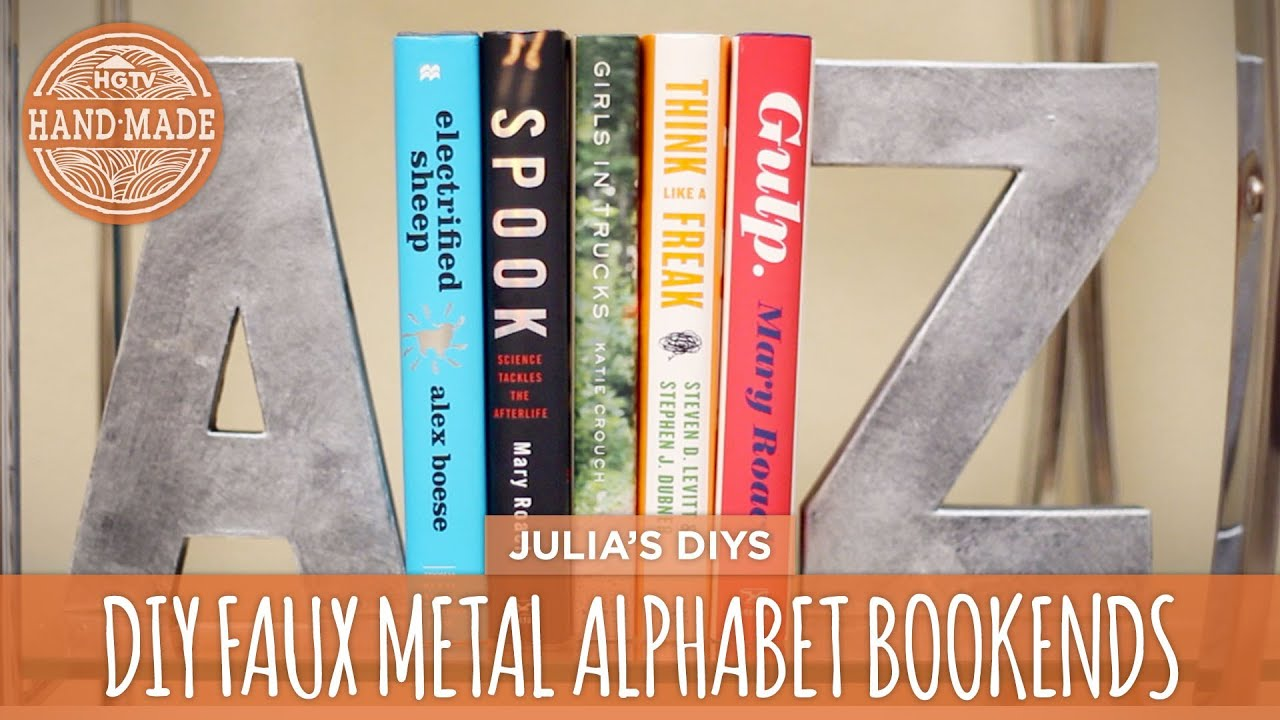 Diy Faux Metal Bookends Bookshelf