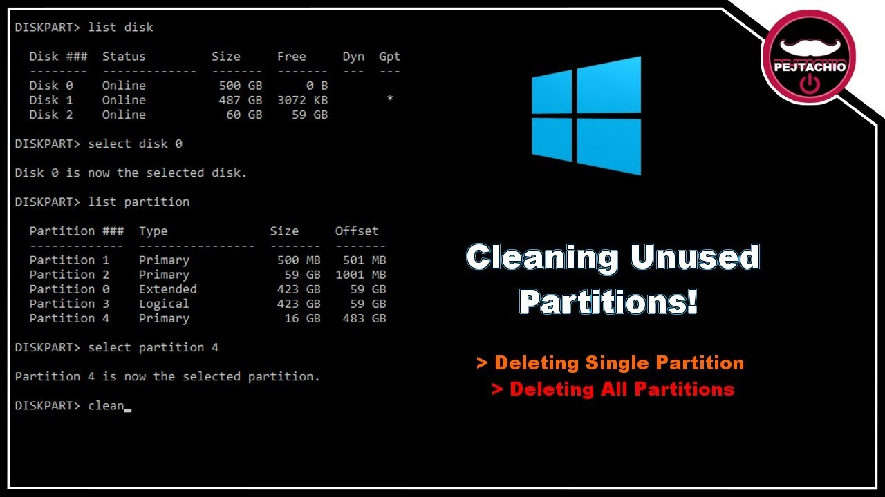 How to delete a single disk partition OR clean all Disk Partitions in CMD |  Any Windows OS